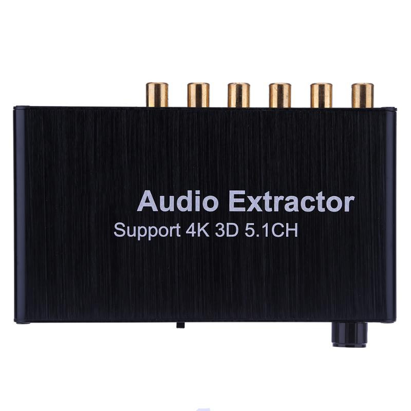 ALLOYSEED EU HDMI Audio Extractor Support 5.1CH 4K 3D HDMI to HDMI AC-3/DTS Decoder 6ch RCA/3.5mm Headphone Port Output ssriver 5 1ch hdmi audio extractor decode coaxial to rca ac3 dst to 5 1 amplifier analog converter support 4k for ps4 dvd player