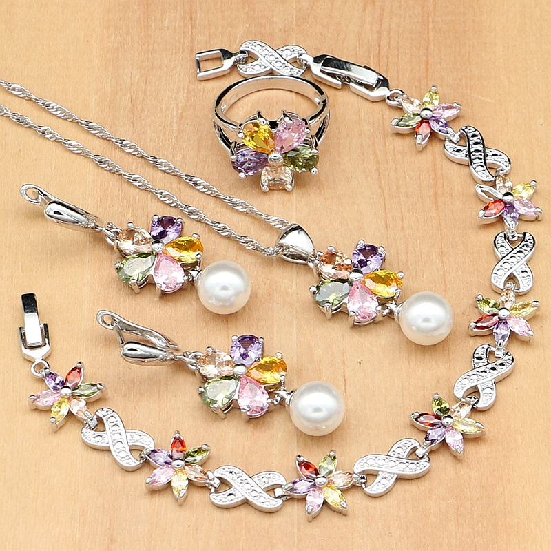 Flower Multicolor Zircon White Pearls 925 Silver Jewelry Sets For Women Wedding Earrings/Pendant/Ring/Bracelet/Necklace Set a suit of gorgeous rhinestoned flower necklace bracelet earrings and ring for women