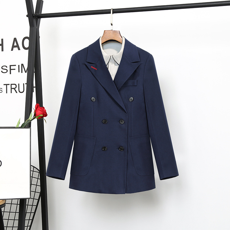 high quality Navy Blue suit female Korean fashion ladies Slim Blazer Suit Two Piece Trousers + Blazers 2PC Female Sets Pants 5XL-in Pant Suits from Women's Clothing    2