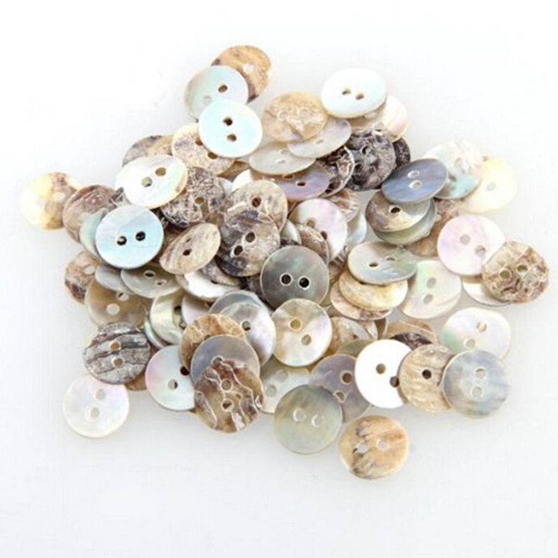 100 PCS Natural Shell Sewing <font><b>Buttons</b></font> Color Japan Mother of Pearl MOP Round Shell 2 Hole <font><b>Button</b></font> Sewing Accessories <font><b>10mm</b></font> image