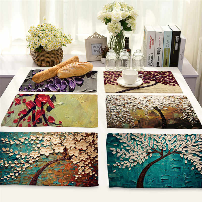 1Pcs Flower Tree Pattern Kitchen Placemat Dining Table Mat Drink Coaster Cotton Linen Pad Bowl Cup Mat 42*32cm Home Decor MP0016