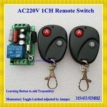 220 v 1ch inalámbrico rf interruptor remoto inalámbrico de luz de Lámpara LED interruptor 1 Receptor 2 Transmisor 315/433 Remoto ON OFF controlador