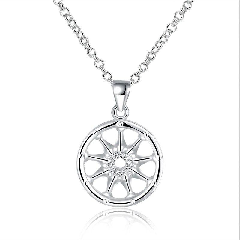 Monili di modo della donna argento hollow circolare collana ciondolo con  zircone classic retro style top quality globale caldo e22b4fa123f
