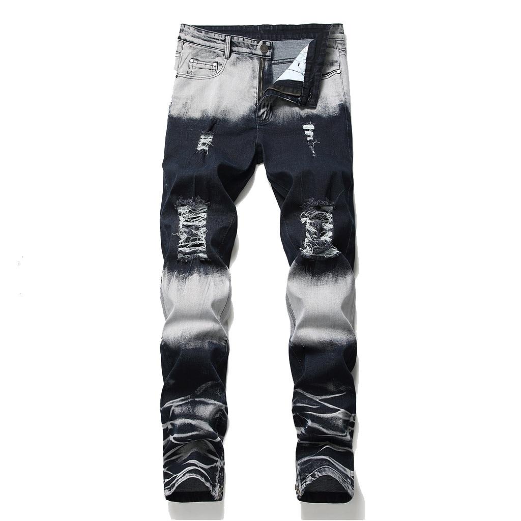 2018 Newest Arrivals Fashion Hot Men's Long Straight Leg Slim Fit Casual Hole Strech Denim Pants Skinny   Jeans   droshipping