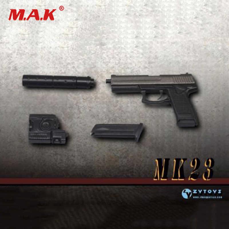 "Escala 1:6 mk23 socom zy2009d pistola arma modelo 1/6 miniatura brinquedo f 12 ""figura"