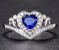 1 карат 925 стерлингового серебра искусственный бриллиант кольцо в форме сердца Танзанит кольцо с бриллиантом ювелирные изделия размер США о