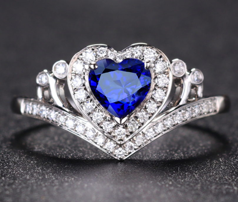 1 carat 925 sterling silver man made diamond ring heart shaped tanzanite diamant ring jewelry US size from 4.5 to9 (LA)