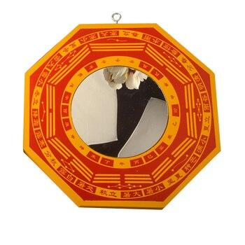 Fengshui chinês de madeira vermelha côncavo convexo bagua espelho parede pendurado o 8 hexagramas espelho decoração casa acessórios