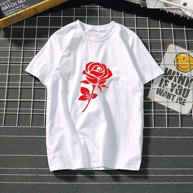 Rosa rossa donne Vestiti di cotone di Estate della maglietta di modo Delle Signore per la T-shirt fiore Grafico Ulzzang Top Tee Femmina nero/ bianco top