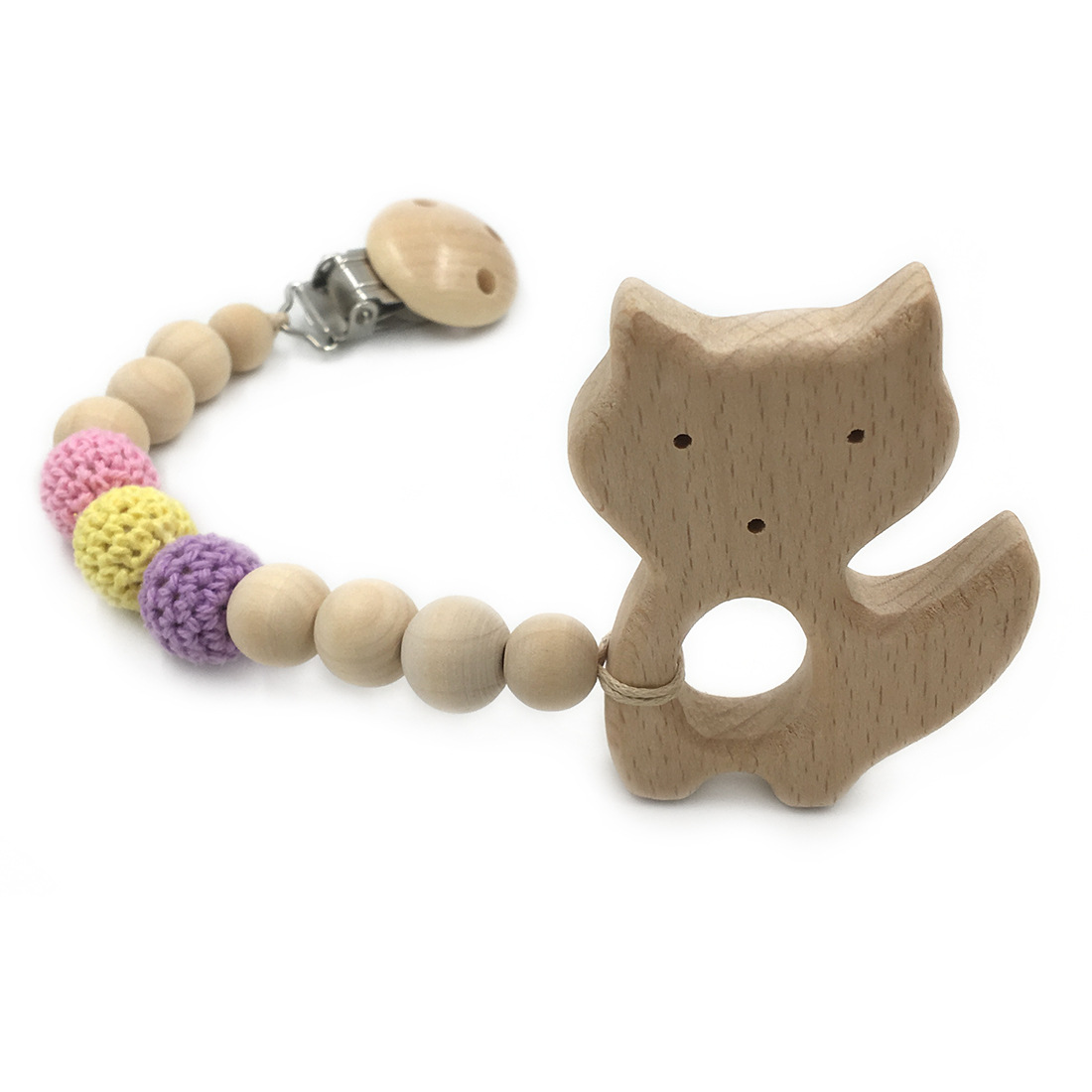 5pcs natural pacifier clip dummy holder safe wooden crochet beads shade of purple tone beech fox teether set baby boy gift box