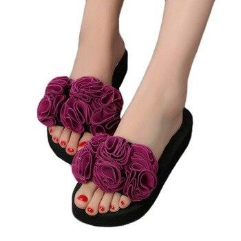 Puimentiua été femme chaussures femmes fleur été sandales pantoufle intérieur extérieur tongs plage chaussures dames plate-forme pantoufle