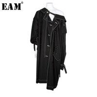 [EAM] Высокое качество 2018 Осень черный длинный рукав нерегулярные двубортный несколько носить методы пальто мода новый Для женщин LA744
