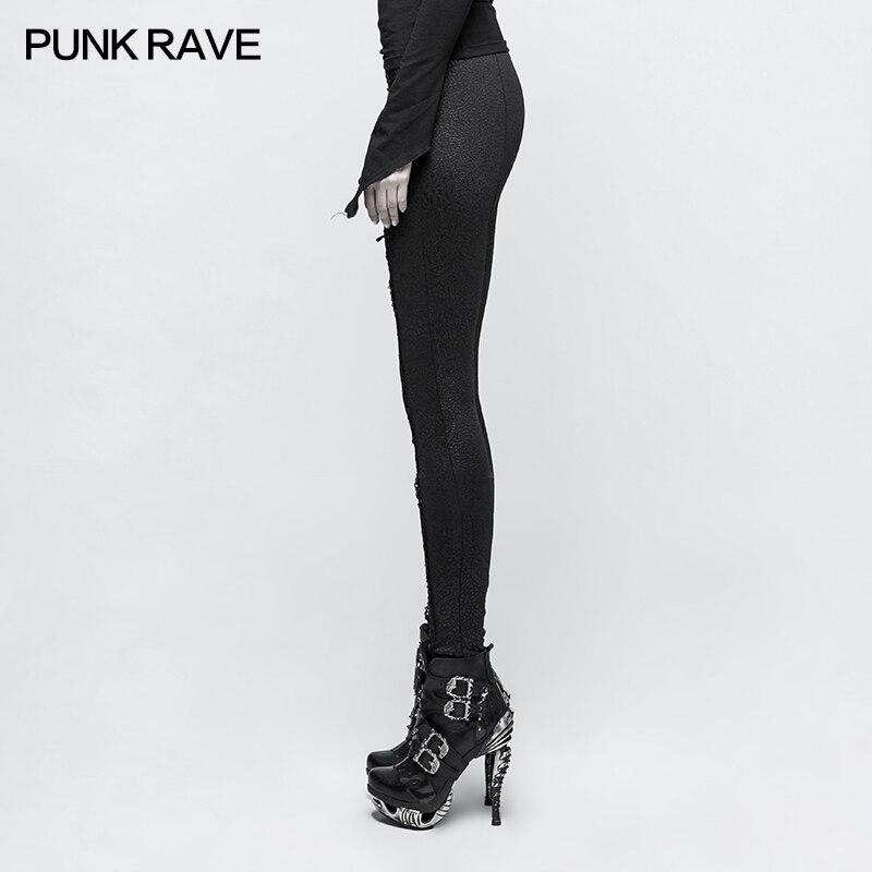 Pants leggings black with patterns baroque and lacing elegant ari Punk Rock Club Fashion Visual Kei K291 - 2