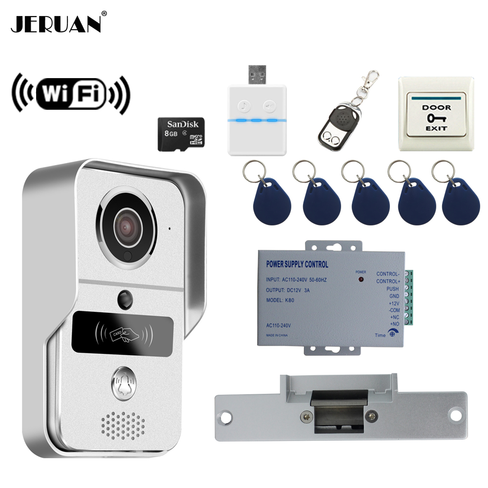 JERUAN Smart 720P Silver WiFi Video Door phone Intercom kit Wireless Record Doorbell For Smartphone Remote View Unlock In stock