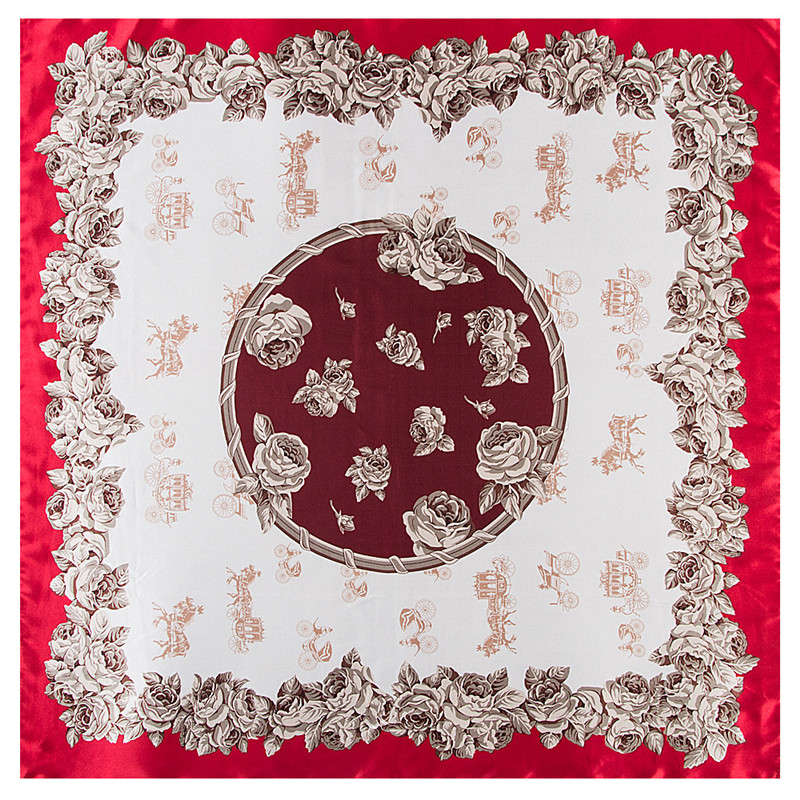2018 New Carriage Silk   Scarf   For Ladies Floral Print Hijab Shawl Brand   Scarf   Foulard Square Head   Scarves     Wraps   For Women Bandana