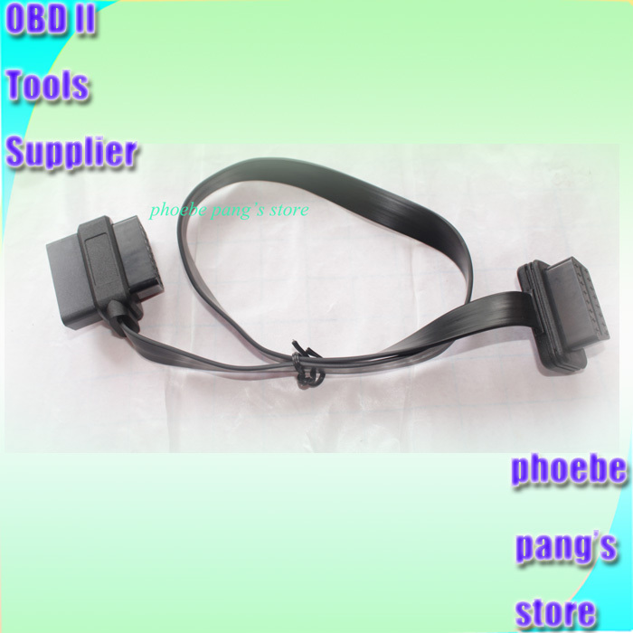 2FT 60cm Flat Thin OBDII OBD2 16Pin ELM327 Male To Female Elbow Extension Cable High Quality 1 to 1 correspondence 2pcs