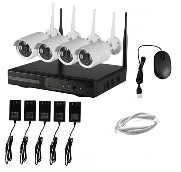 4CH NVR WIFI CCTV Security Camera System 4PCS 720P HD Outdoor ...