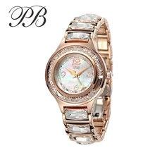 Marca de fábrica famosa PB Reloj Del Negocio Del Diseñador de Las Mujeres de Oro Ostra Crystal Pulsera de Acero Inoxidable Reloj de Cuarzo Resistente a Los Arañazos HL591