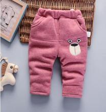 Boys Pants 2019 Winter Baby Boy Plus Velvet Trousers Padded Kids Clothes Baby Girl Long Pants for 1-2-3-4-5 Years Old QHD080