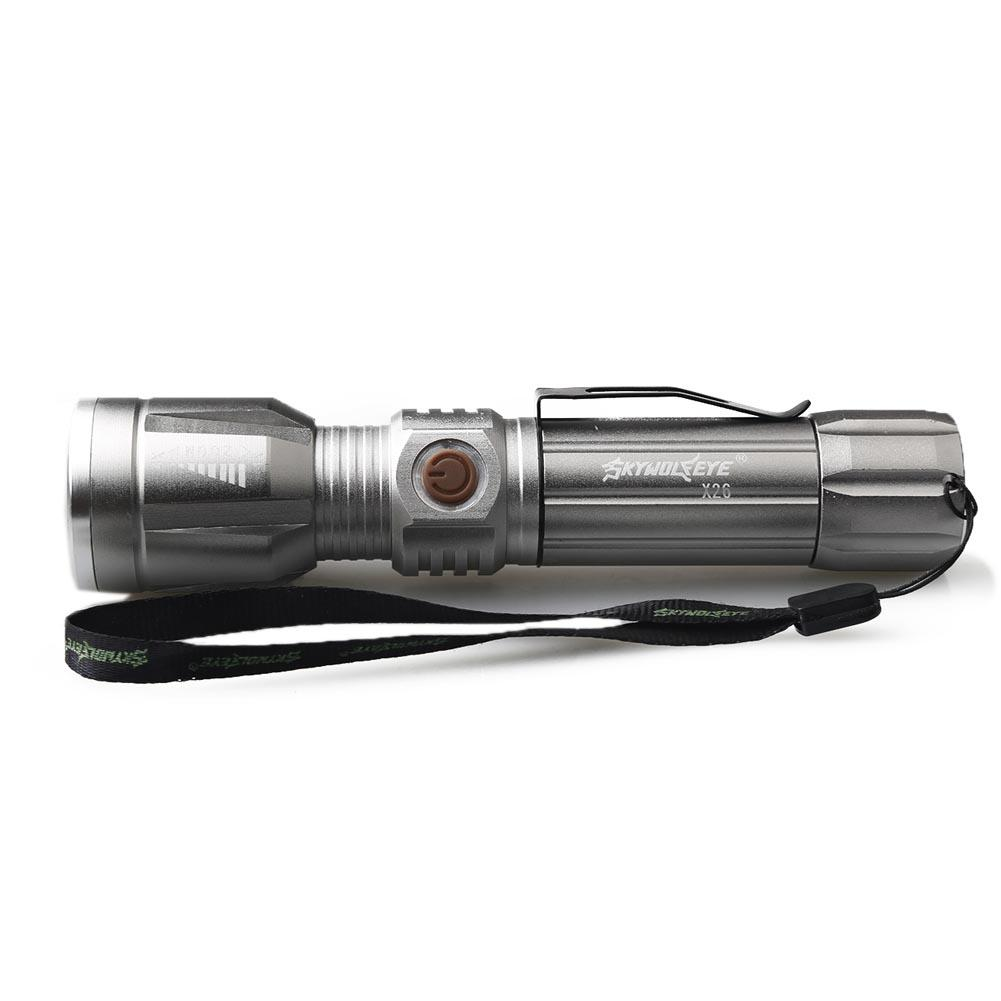 SKYWOLFEYE Portable LED Flashlight 3 Modes T6 LED 18650 Zoomable Bicycle Flashlight Silver for Walking Outside at Night