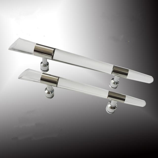 410mm 300mm moda moderna claro actylic alças puxa maçanetas chuveiro porta de vidro do banheiro do aço inoxidável
