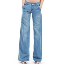 2016 новые широкие брюки ноги свободные большие ярдов прямо талии клеш брюки наземные белые джинсы для женщин