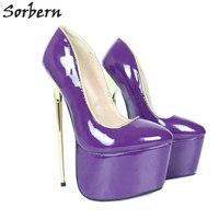 Sorbern 22 см золотые металлические каблуки женские туфли лодочки фиолетовые лакированные экстремальные каблуки 8 дюймов каблуки туфли женские