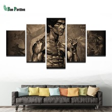 Modular Vintage Pictures Home Decoration Paintings On Canvas Wall Art 5 Panel Bruce Lee For Living Room HD Printed Poster