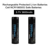 2pcs Lot Soshine 18650 Li Ion Battery 3 7V 3600mAh Rechargeable Protected Li Ion Batteries Cell