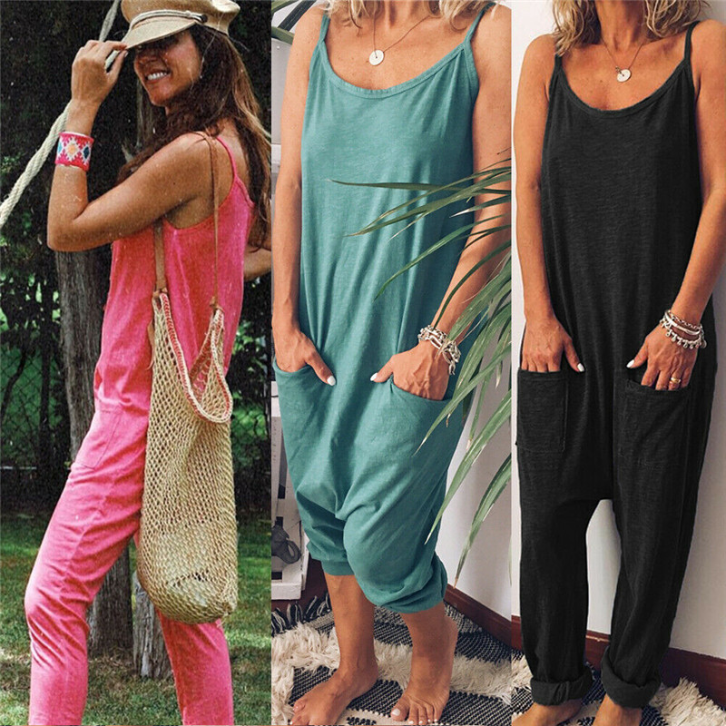 Women Baggy Casual Sleeveless Jumpsuit Casual Pocket Jumpsuits