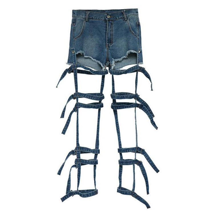 New European and American Fashion Personality Trend Bandage Hollowed out Wash Jeans Detachable Two Shorts for Women Summer 2019