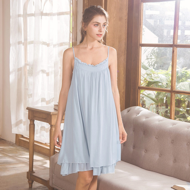 e55f31dfca5 Blue Pink White Spaghetti Strap Night Dress Women Night Sleepwear Summer  Sexy Nighty Sweet