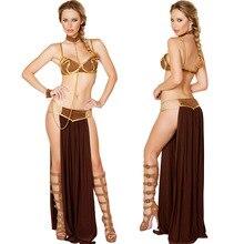Sexy Carnival Star Wars Cosplay Princess Leia Slave Costume Dress Gold Bra and Neckchain Egyptian goddess costume