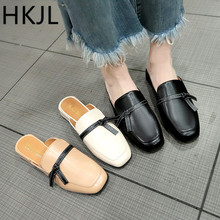 HKJL 2019 spring and summer new baotou half slippers women thick heel with a low bow loafers shoes womens A145