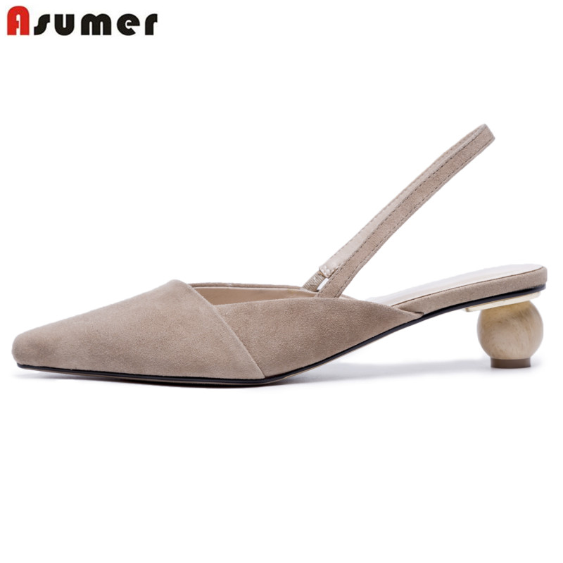 ASUMER Sandals Wedding-Shoes Pointed-Toe Fashion Ladies Slingback New Novelty Suede Quality