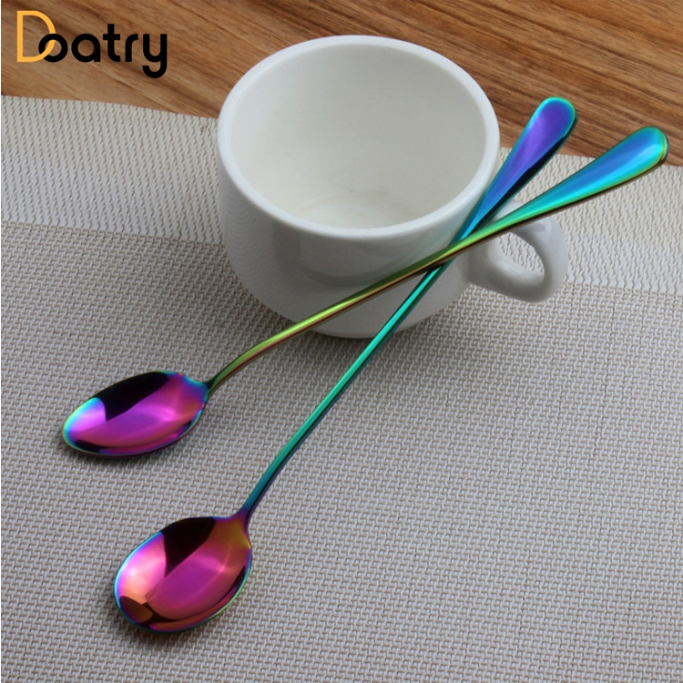 Creative Colorful Stainless Steel Rainbow Sharp And Round Head Coffee Scoop Mixing Scoon Cold Drink Fruit Long Handle Ice Scoop