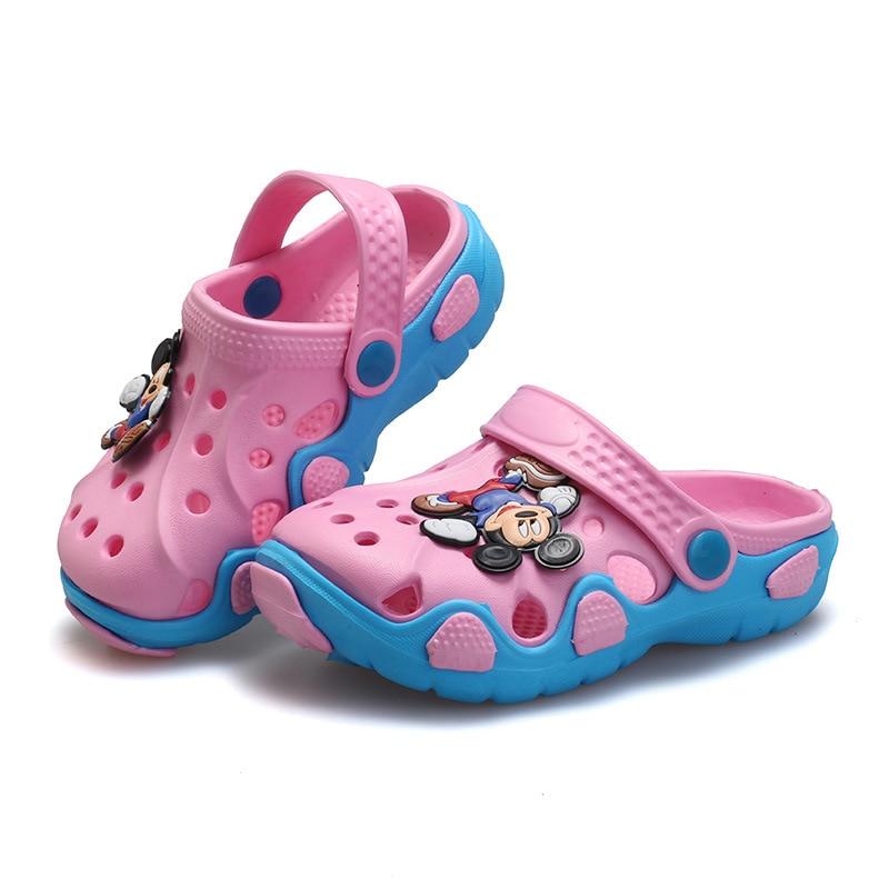 2019 New Disney Sanshou Speed Children Sandals Summer Cartoon Cute Hole Shoes Mickey Slip Sandals  20-30