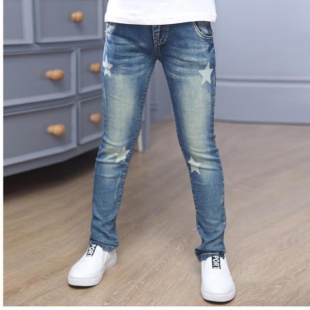 2017 Nuevo Estilo bebé jeans muchacha Encantadora Niños pantalones Casuales ropa de los niños coreanos del Dril de algodón Pantalones