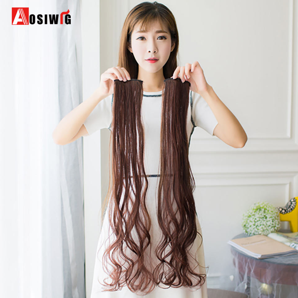 Pure Color Long Wavy Hair Extensions 1 Piece 2 Clip In High