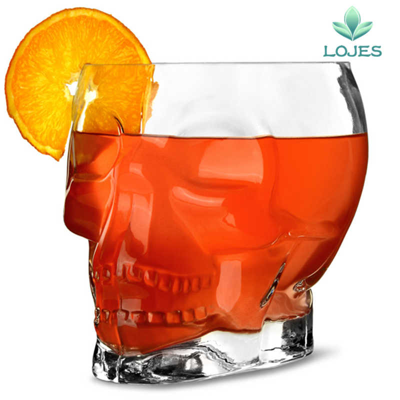 Cristal transparente calavera de vidrio cerveza estañera vaso de vino cabeza de whisky beber Bar casa copa de vidrio taza cerveza vino beber