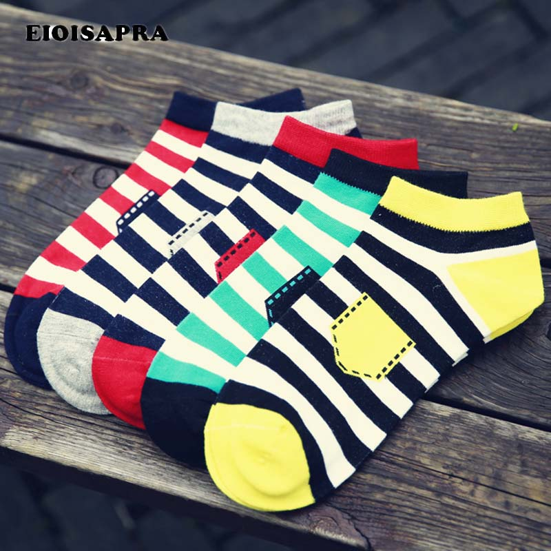 [EIOISAPRA]Spring/Summer Short Striped Men Socks Male Casual Colorful Harajuku Socks For ...