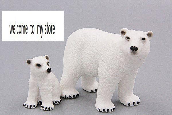 pvc  figure  polar bear  mother  and  son  animals  models  toys children birthday gift toys holiday gift ornaments 2pcs/set pvc figure wild animals toy leopard model panther tiger toys children birthday gift toys holiday gift ornaments 4pcs set