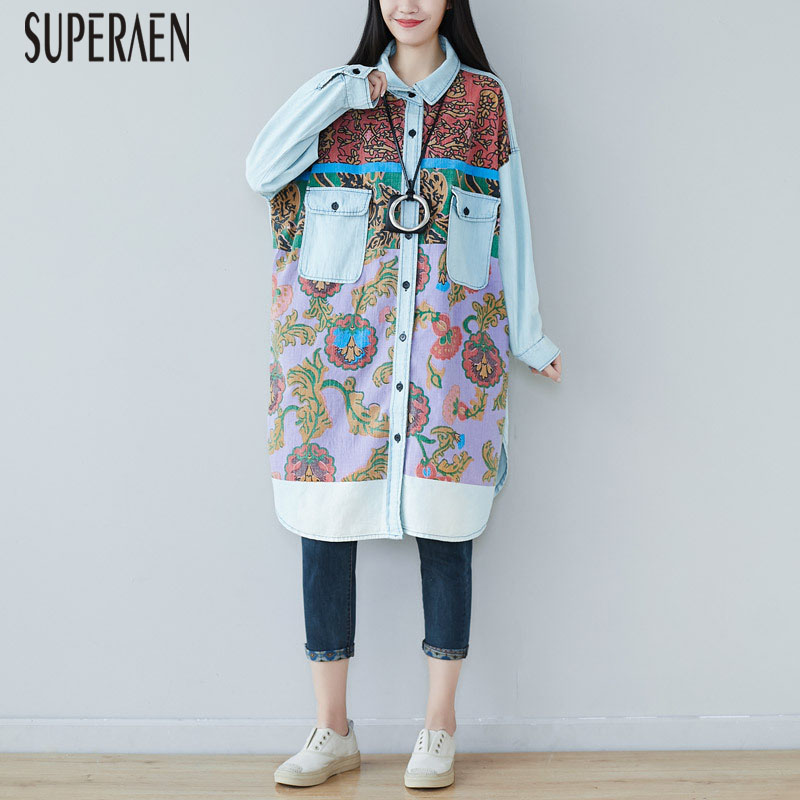 SuperAen Autumn And Spring New 2019 Women Denim Shirts Wild Fashion Casual Long-sleeved Loose Pluz Size Blouses Female
