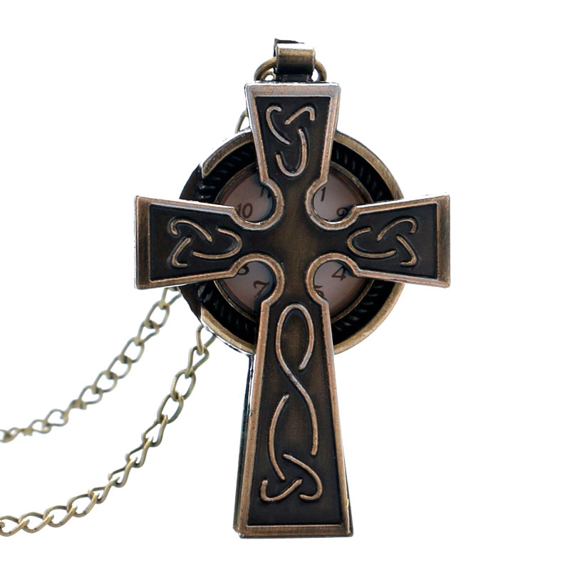 Bronze Cross Shaped Pray Quartz Pocket Watch Vintage Antique Fob Watch Men Women Gift Necklace Chain Montre Gousset