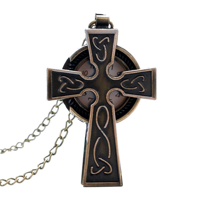 Bronze Cross Shaped Pray Quartz Pocket Watch Vintage Antique Fob Watch Men Women Gift Necklace Chain Montre Gousset