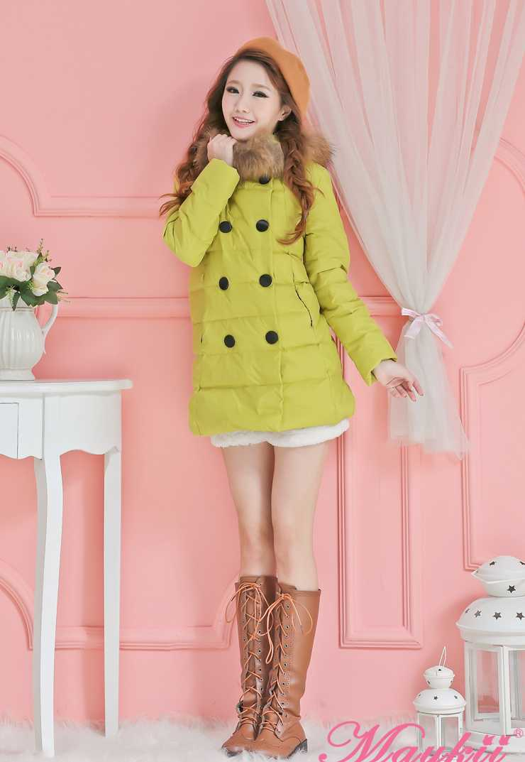 New Arrival Fashion Japan Autumn Winter Sweet Slim White Duck Down Jackets Cotton Warm Thicken Detachable Hood Women Coat H4541
