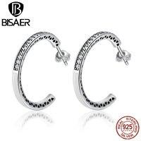 BISAER 925 Sterling Silver Radiant Hearts White Enamel Hanging Hoop Earrings Women Luxury Sterling Silver Jewelry
