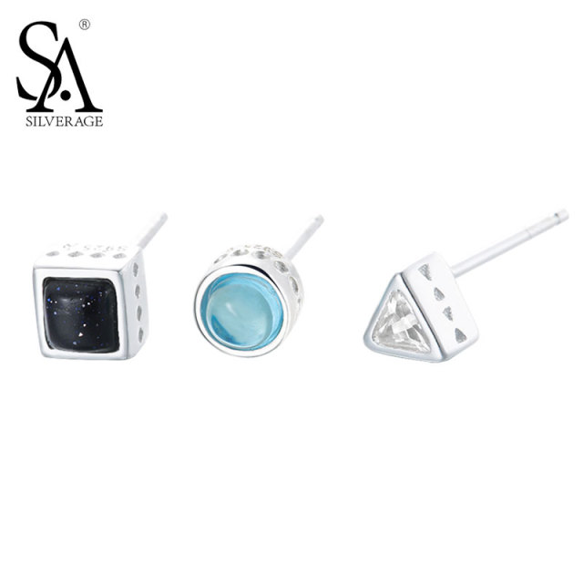 Sa Silverage Real 925 Sterling Silver Stud Earrings Hot Erfly Clasp Geometric Type European