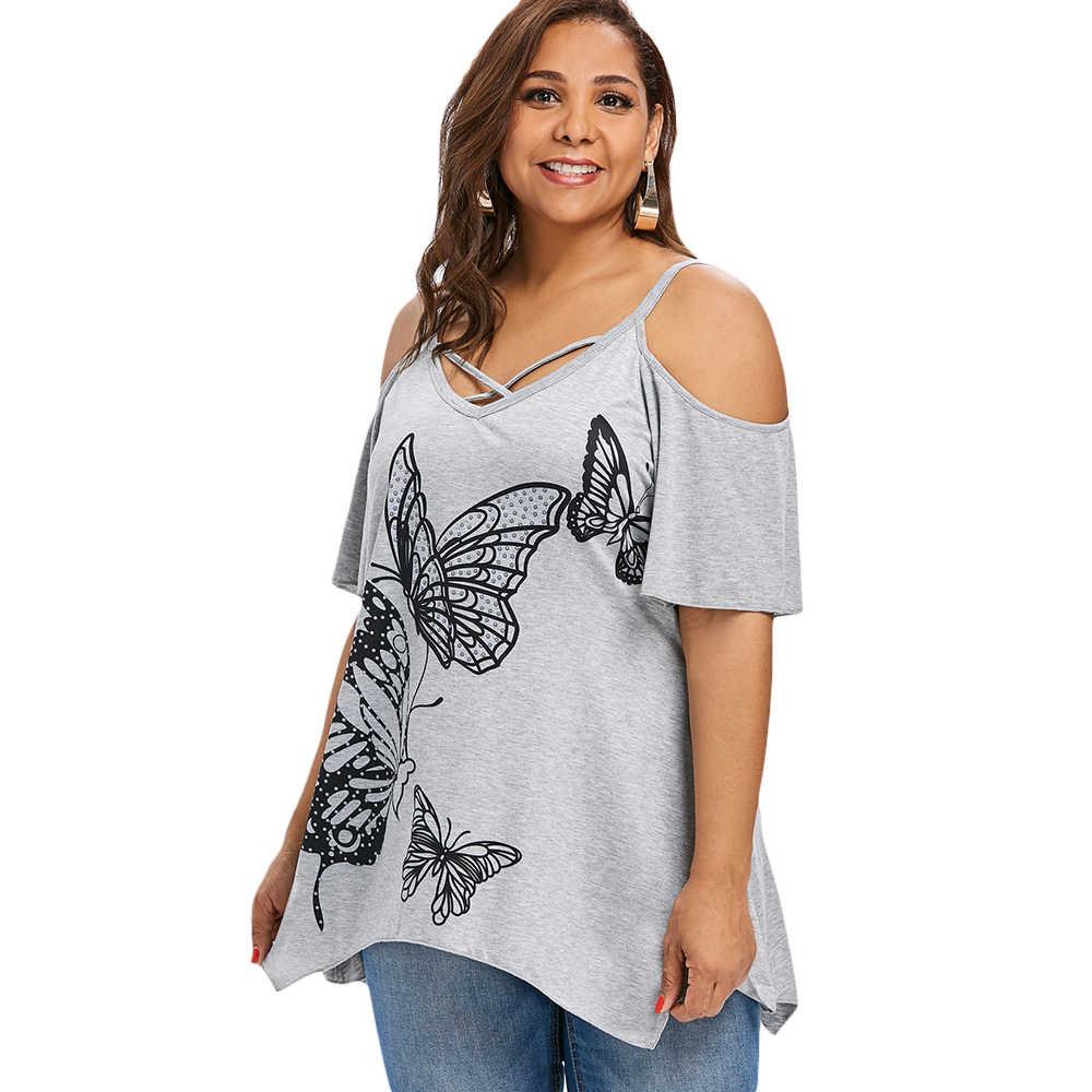 Wisalo плюс размер 5XL 4XL Футболка с открытыми плечами и бабочкой Женская Повседневная футболка на тонких бретельках ассиметричный с коротким рукавом футболки