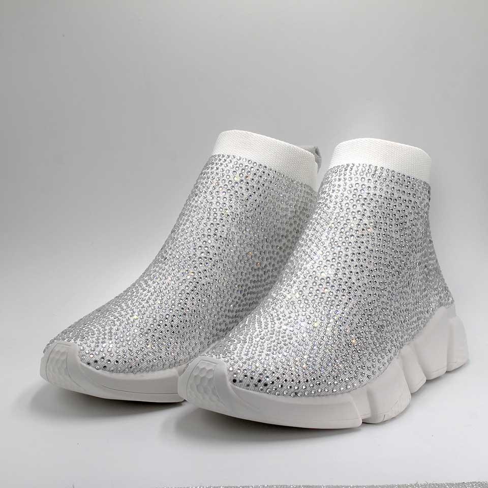 Cristaux chaussette chaussures femmes sport baskets strass bottes décontractées dames mode femme Bling tricoté Stretch maille Designer chaussure